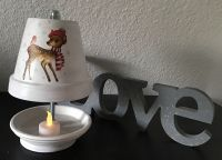 Teelichtofen Teelichtkamin  25 cm inkl 3 Teelichter - Rehkitz im Winter