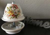Teelichtofen  21 cm inkl 3 Teelichter - Gartenblumen auf weiß