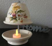 Teelichtofen Teelichtkamin 21 cm inkl 3 Teelichter - Gartenblumen auf Creme