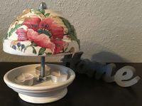 Teelichtofen Teelichtkamin  21 cm inkl 3 Teelichter - Pinke Blumen