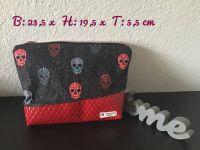 2er Set Kulturtasche Kosmetiktasche + Schminktäschchen - Totenköpfe Skulls