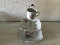 Etagere Vintage aus Oma ´s schönem Geschirr handmade neugestaltet - Rosen antik