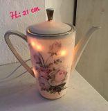 Beleuchtete Kaffeekanne Einzigartig Geschenk  Vintage Unikat - Rosen antik