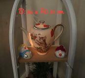 Beleuchtete Kaffeekanne Einzigartig Geschenk Vintage  Unikat - Katze mit Erdbeeren