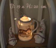 Beleuchtete Kaffeekanne Einzigartig Geschenk Vintage  Unikat - schlafende Katze