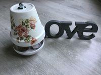 Teelichtofen  25 cm inkl 3 Teelichter - Rosen antik
