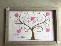 Hochzeit ♥ Gästebuch Hochzeitsrahmen Bilderrahmen personalisiert Unikat handmade - Baum mit roten Blumen
